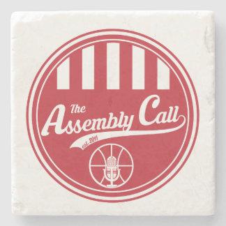 Limestone Coaster with Assembly Call logo