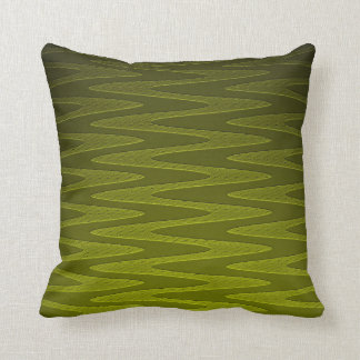 Liminous Olive Green Zigzag Pattern Throw Pillow