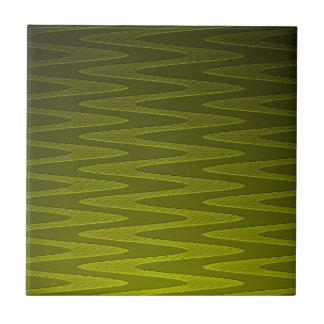 Liminous Olive Green Zigzag Pattern Tile