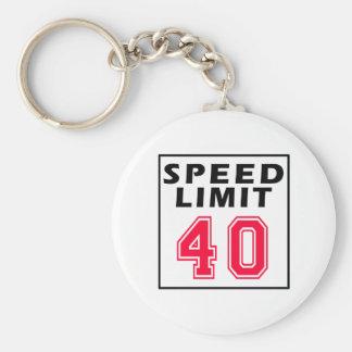 Límite de velocidad 40 diseños del cumpleaños llavero