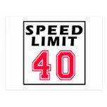 Límite de velocidad 40 diseños del cumpleaños postales