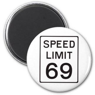 Límite de velocidad 69 imán redondo 5 cm