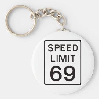 Límite de velocidad 69 llavero redondo tipo pin