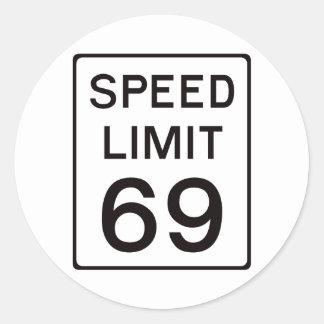 Límite de velocidad 69 pegatina redonda