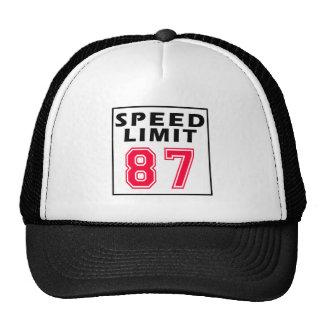 Límite de velocidad 87 diseños del cumpleaños gorros