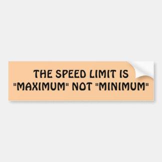 Límite de velocidad máximo o mínimo etiqueta de parachoque