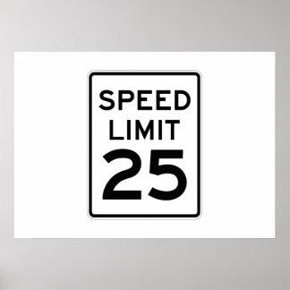 Límite de velocidad muestra de 25 MPH Impresiones