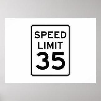 Límite de velocidad muestra de 35 MPH Posters