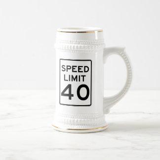 Límite de velocidad muestra de 40 MPH Jarra De Cerveza