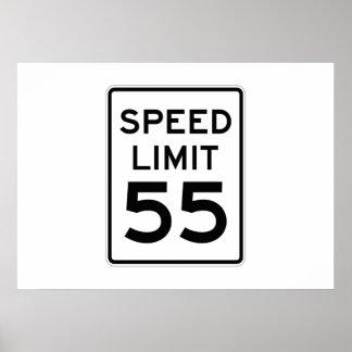 Límite de velocidad muestra de 55 MPH Póster