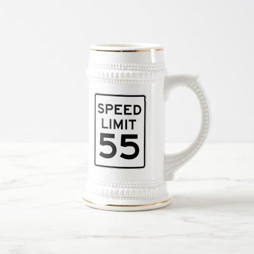 Límite de velocidad muestra de 55 MPH Taza De Café