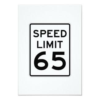 """Límite de velocidad muestra de 65 MPH Invitación 3.5"""" X 5"""""""