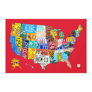 Limited Edition License Plate Map of USA Canvas Stretched Canvas Prints