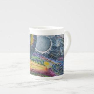 "Limited Edition Porcelain Cup, watercolor ""ICBlue"" Bone China Mug"