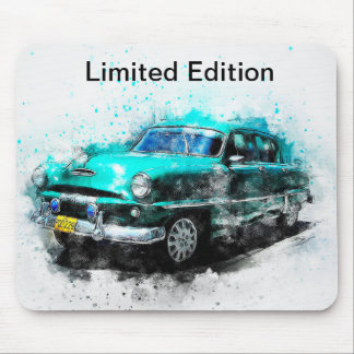 Limited Edition Vintage Green Car Design Mousepad