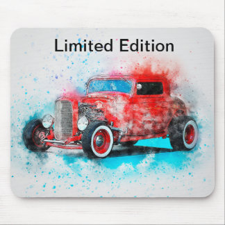 Limited Edition Vintage Red Car Design Mousepad