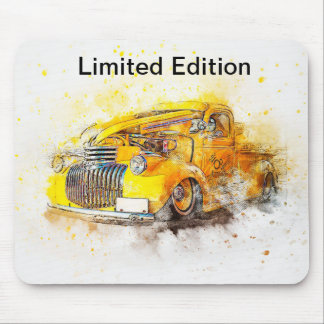 Limited Edition Vintage Yellow Car Design Mousepad