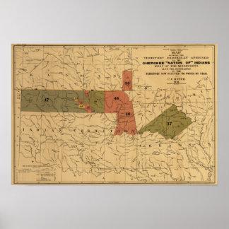 """Límites anteriores de """"nación cherokee"""" de indios póster"""