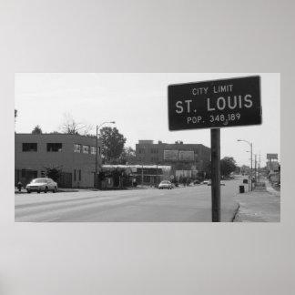 Límites de ciudad de St. Louis en el camino natura Póster