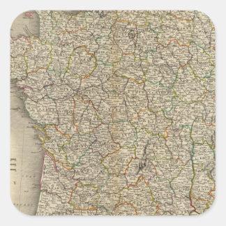 Límites del departamento de Francia Calcomanías Cuadradass Personalizadas
