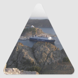 Limnos Ferry From The Hill Triangle Sticker