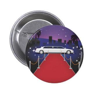 Limo de la celebridad de la alfombra roja pin redondo 5 cm