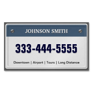 Limo & Taxi Service - Cool Licensed Plate Magnetic Business Card