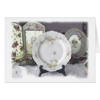Limoges and Pink Roses Greeting Cards