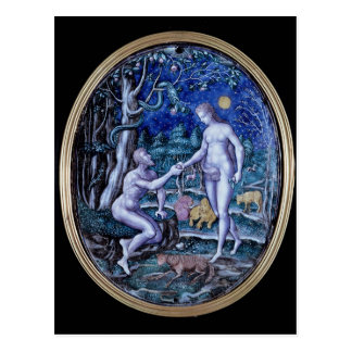 Limoges plaque depicting Adam and Eve, c.1570 Postcard