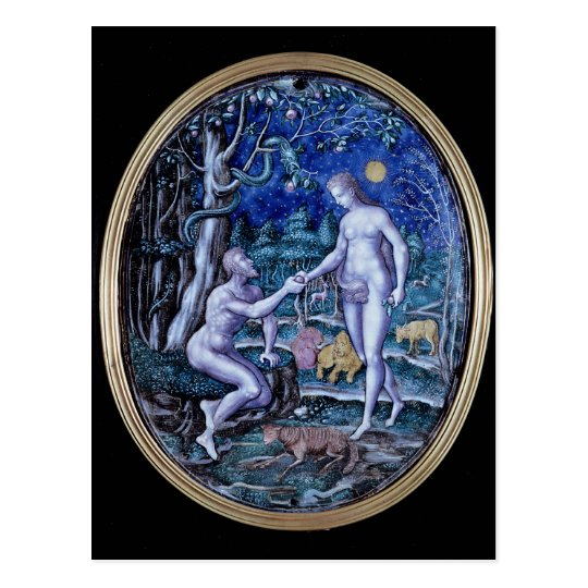 Limoges plaque depicting Adam and Eve, c.1570 Postcard