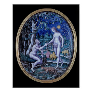 Limoges plaque depicting Adam and Eve, c.1570 Poster