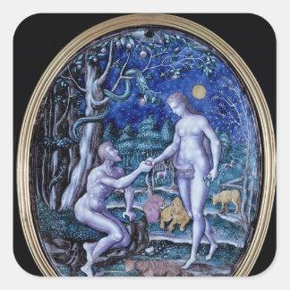 Limoges plaque depicting Adam and Eve, c.1570 Square Sticker