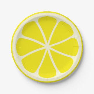 Limón del fiesta de la fruta cítrica platos de papel