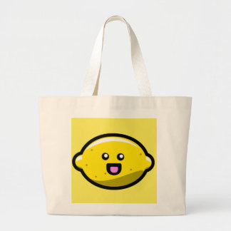Limón feliz de Kawaii Bolsa Tela Grande