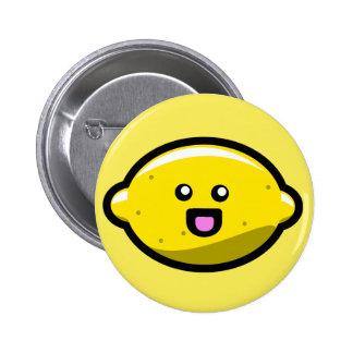 Limón feliz de Kawaii Pin Redondo De 2 Pulgadas