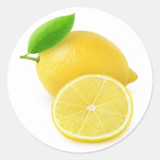 Limón fresco pegatina redonda