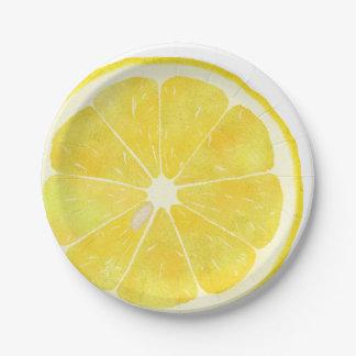 Limón fresco platos de papel