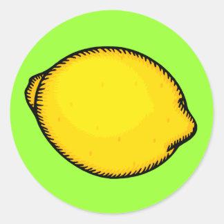 Limón grande pegatina redonda