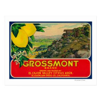 Limón LabelEl Cajon, CA de Grossmont Postal