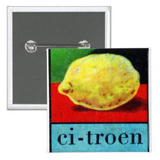 Limón retro de Alpahbet Citroen del holandés del k Pin Cuadrado