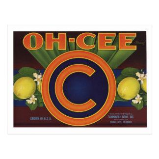 Limón retro viejo de las etiquetas de las tarjetas postales