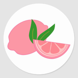 Limón rosado lindo pegatina redonda