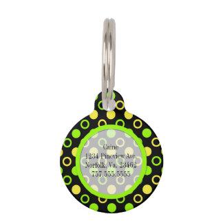 Limón y anillos y lunares de la cal placa para mascotas