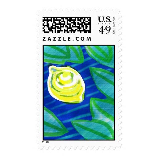 Limón y hojas pintados a mano sello postal