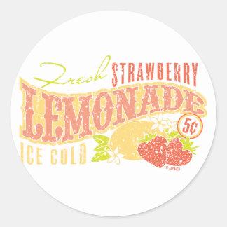 Limonada de la fresa pegatina redonda