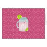 Limonada rosada con monograma + Baya Quatrefoil Tarjeta Pequeña