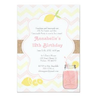 Limonada rosada - invitación suave femenina del invitación 12,7 x 17,8 cm