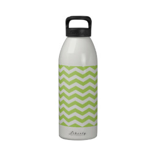 Limonade Green And White Zigzag Chevron Pattern Reusable Water Bottle
