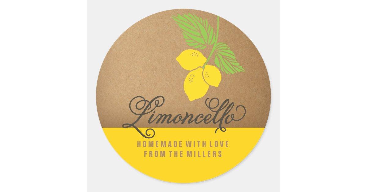Limoncello Label, 3 inch round lemon sticker | Zazzle.com