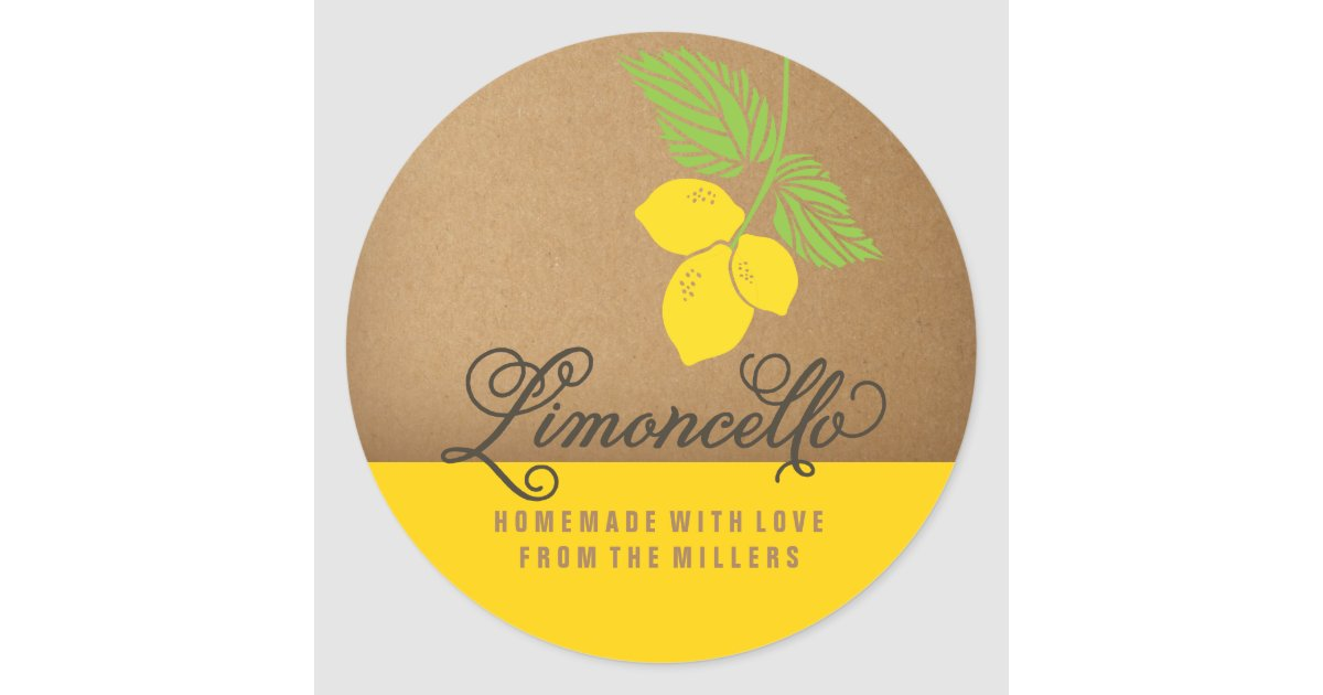 Limoncello Label, 3 inch round lemon sticker | Zazzle